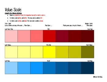 Art Lesson Value Scale in Paint