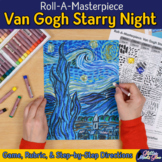 Art Lesson: Van Gogh Starry Night Roll A Dice Game and Art Sub Plan for Teachers