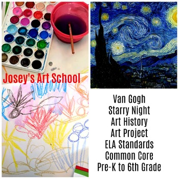 Art Lesson Van Gogh Starry Night Pre-K to 6th Grade Art History Drawing ELA Core