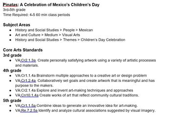 Art Lesson for 3rd through 5th grade: Mexico's Children's Day