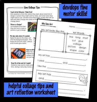 Art Lesson for Kindergarten Multicolor Line Collage