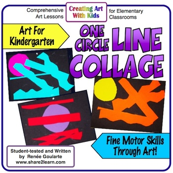 Art Lesson for Kindergarten One Circle Line Collage