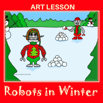 Child drawing of robots throwing snowballs