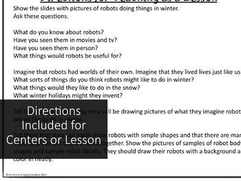 Art Lesson, Sub Lesson, or Center Activity - Robots in Winter