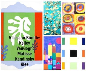 Art Lessons 5 Pack Bundle: Kids Matisse VanGogh Kelley Klee Kandinsky
