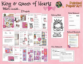 Art Lessons:Valentine's Day King & Queen of Hearts-Directed Drawing, Mixed Media