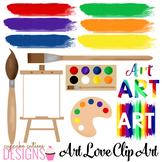 Art Love Paint Strokes Artist Digital Clip Art Set