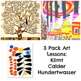 Art Lesson 3 Bundle Art History Klimt Calder and Hundertwasser Common Core