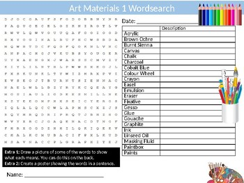 Art Materials #1 Wordsearch Puzzle Sheet Keywords Activity Paint Supplies