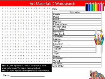 Art Materials #2 Wordsearch Puzzle Sheet Keywords Activity Paint Supplies