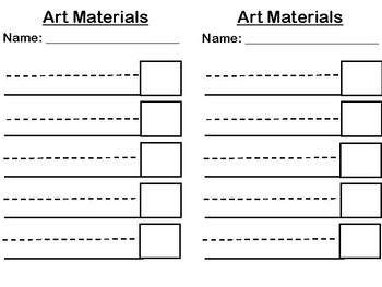 Art Materials Practice Sheet