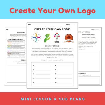 Art Mini-Lesson: Create Your Own Logo Design Project & Sub Plans for Teachers