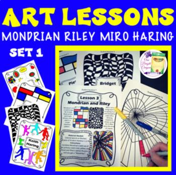 Art Lesson Mondrian, Riley, Haring, Miro