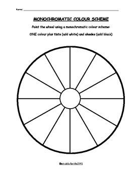 Art - Monochromatic Color Scheme Worksheet