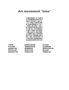 """Art Movements """"ism""""s Word Search"""