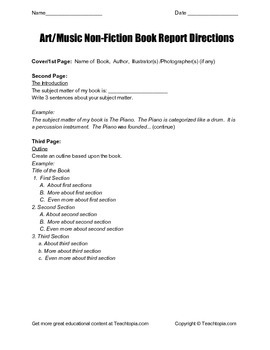 Art / Music Non Fiction Book Report Directions for grades four through six