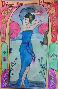 Art Nouveau Watercolor Painting