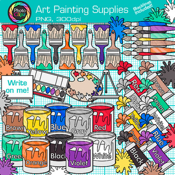 Art Painting Supplies Clip Art   Color Theory, Paint Cans, Tubes, Splashes, Blob