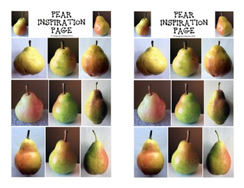 Art Pear Painting Project with Contour Drawings (USA spelling)