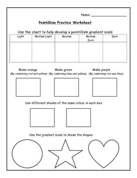 art pointillism worksheet by miss bennett takes 2 tpt. Black Bedroom Furniture Sets. Home Design Ideas