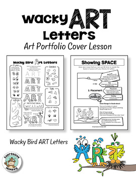 Art Portfolio Cover Lesson: Wacky Art Letters - Birds and Monsters
