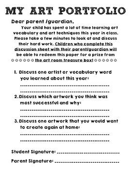Art Portfolio Discussion Sheet