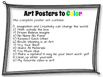 Art Posters to Color for the art Classroom