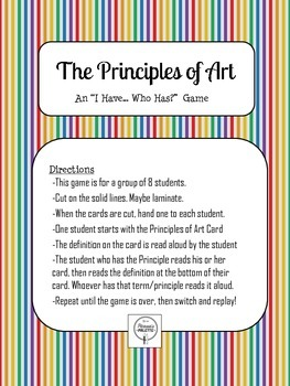 """Art Principles Game, Printable Cards """"I Have, Who Has?""""- S"""