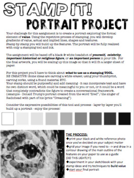 Art - Printmaking - Stamp Portrait Project