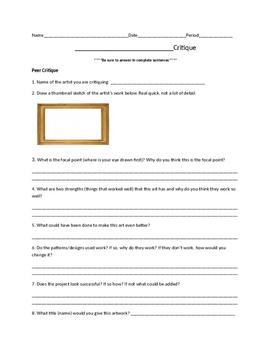 Art Project Critique Paper