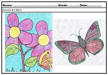 Art Project Dot Pattern Flowers and Garden Creatures