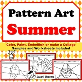 Summer Art Project, Pattern Art / Pop Art Summer Fun Worksheets