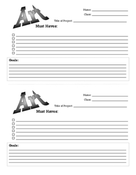 Art Project Planning and Reflection Sheets