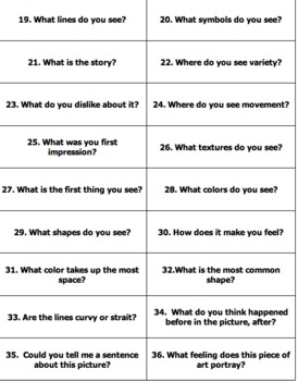 Art Questions to Promote Critical Thinking