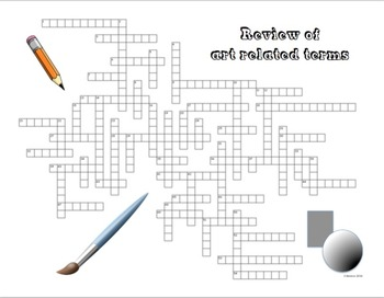 Art Related 55 Terms Crossword (Canadian Spelling of Colour)
