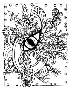 Eye LOVE Art. Spring. Summer.  Relaxing Coloring Page.