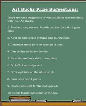 Art Reward Bucks for the Classroom