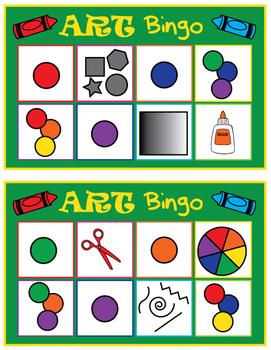 Art Room Bingo- 20 different bingo boards