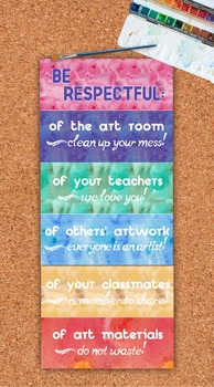 Art Room Class Rules Be Respectful Watercolor Printables