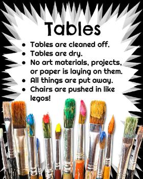 Art Room Clean Up Posters: Art Classroom Management