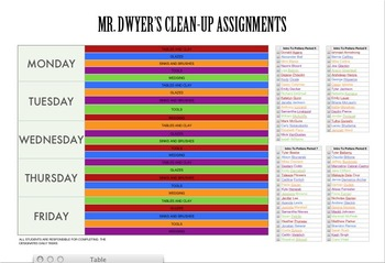 Art Room Color Coded Job Chart