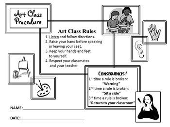 Art Room Contract - 1st Day of School