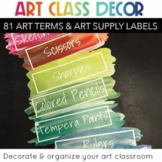 Art Room Decor:Art Supply Labels & Art Vocabulary Bundle