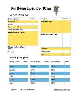 Art Room Inventory Form