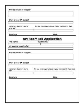 Art Room Job Application