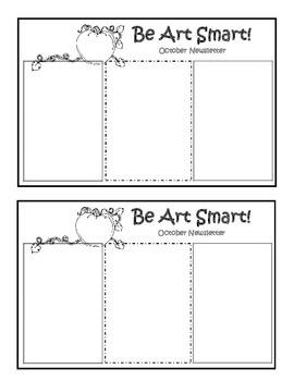 Art Room Monthly Newsletter Blank