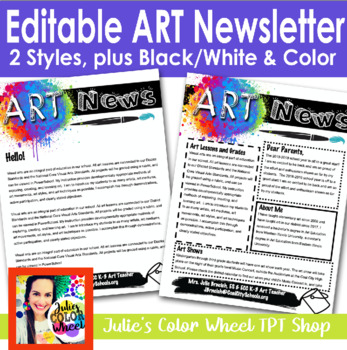 Art Room Newsletter, Editable Template