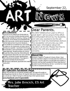 Art Room Newsletter, Editable Template