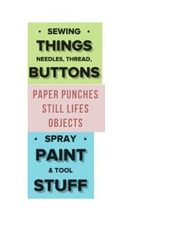 Art Room Organization Labels