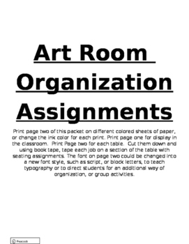 Art Room Orgnaization